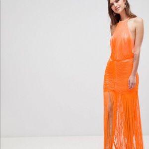 ASOS Dropped Waist Fringe Maxi Dress- Orange